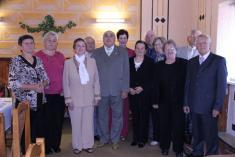 Stretnutie 70-níkov 21.9.2013 -Zľava: Mária Gavurová (r.Syčová), Anna Borloková (r.Petrová), Anna Refková (r.Janošková), Karol Šulej, Jozef Koprajda, Dagmar Vrábľová (r.Tlučáková), Milan Datko, Viera Chmelíková (r. Simanová), Mária Burčová (r.Datková), Ju