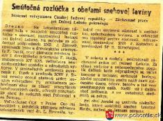 Lavínové nešťastie lesných robotníkov 1956-Noviny Pravda 13.3.1956